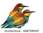 couple of wild exotic birds are ... | Shutterstock . vector #688708969