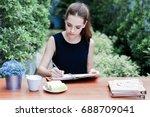 young beautiful caucasian girl... | Shutterstock . vector #688709041