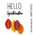 hello september. lettering with ... | Shutterstock .eps vector #688710511