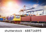 freight train in the port and... | Shutterstock . vector #688716895