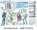 retro styled jazz poster. can... | Shutterstock .eps vector #688719421