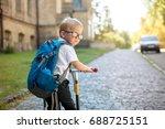 alone pupil of primary school... | Shutterstock . vector #688725151