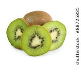ripe kiwi isolated on white... | Shutterstock . vector #688725835