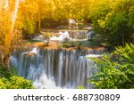 waterfall in green forest on... | Shutterstock . vector #688730809