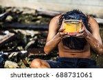 selective focus hands poor... | Shutterstock . vector #688731061
