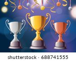 trophies   medals. illustration | Shutterstock . vector #688741555