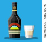 bottle of chocolate coffee... | Shutterstock . vector #688742275