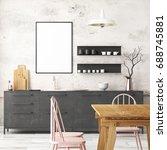 mockup interior kitchen in loft ... | Shutterstock . vector #688745881