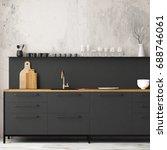mockup interior kitchen in loft ... | Shutterstock . vector #688746061