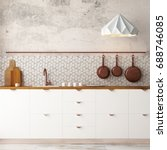 mockup interior kitchen in loft ... | Shutterstock . vector #688746085