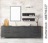 mockup interior kitchen in loft ... | Shutterstock . vector #688746127