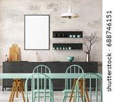 mockup interior kitchen in loft ... | Shutterstock . vector #688746151