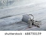 keys to house with keychain on... | Shutterstock . vector #688750159