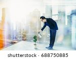 business man pouring water on... | Shutterstock . vector #688750885