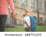 parent taking child to school.... | Shutterstock . vector #688751245