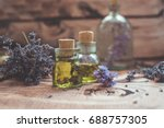 lavender oil with fresh flowers ... | Shutterstock . vector #688757305