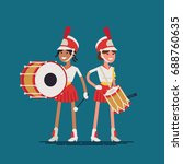 marching band drummer girls.... | Shutterstock .eps vector #688760635