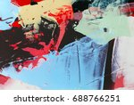 painted canvas as background | Shutterstock . vector #688766251