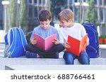 children reading books....   Shutterstock . vector #688766461