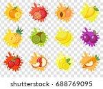 fruits splash set of labels.... | Shutterstock .eps vector #688769095