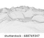 abstract wireframe landscape... | Shutterstock .eps vector #688769347