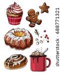sketch christmas sweets. baking ... | Shutterstock .eps vector #688771321