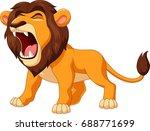 cartoon lion roaring | Shutterstock . vector #688771699