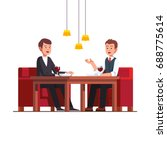two business man eating lunch... | Shutterstock .eps vector #688775614