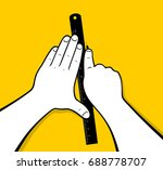 hands using cutter and ruler | Shutterstock .eps vector #688778707