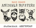 hand drawn animals hipsters set ... | Shutterstock .eps vector #688789069