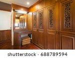 wooden built in wardrobe | Shutterstock . vector #688789594