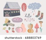 hand drawn various autumn... | Shutterstock .eps vector #688803769
