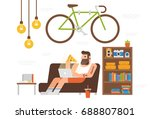 working hipster | Shutterstock .eps vector #688807801