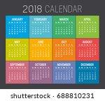colorful year 2018 calendar... | Shutterstock .eps vector #688810231