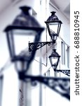 city and old streetlight detail....   Shutterstock . vector #688810945