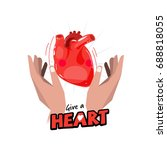 hand with human heart. hope and ... | Shutterstock .eps vector #688818055