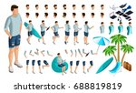 isometric set of gestures of... | Shutterstock .eps vector #688819819