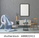 mock up poster in a frame in... | Shutterstock . vector #688822411