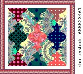 patchwork doily with zigzag...   Shutterstock .eps vector #688823461