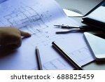 divider  pencil  pen  ruler ... | Shutterstock . vector #688825459