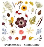 collection of floral autumn... | Shutterstock .eps vector #688830889