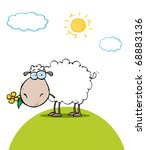 Sheep With Flower In Mouth On ...