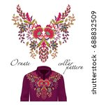 embroidery ethnic flowers neck ... | Shutterstock . vector #688832509