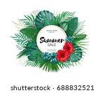 sale. round summer sale... | Shutterstock . vector #688832521