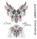 embroidery ethnic flowers neck ... | Shutterstock . vector #688832539