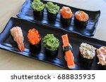 sushi rice mold wasabi japanese ... | Shutterstock . vector #688835935