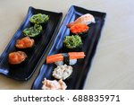 sushi rice mold wasabi japanese ... | Shutterstock . vector #688835971