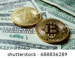 two symbolic coins of bitcoin... | Shutterstock . vector #688836289