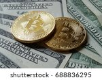 two symbolic coins of bitcoin... | Shutterstock . vector #688836295