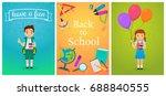 welcome back to school. cute... | Shutterstock .eps vector #688840555